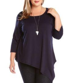 Karen Kane Plus Size Navy Blue  Asymmetrical Knit Top available from Dillards #Navy #Blue #Asymmetrical #Hem #Knit #Top #Fashion #Plus #Plus_Size #Resort