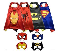 Dress up Parties by Color-N-Splash Three Piece Superhero Cape /& Mask Sets for Pretend Play