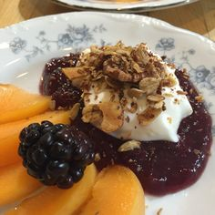 Cantaloupe, blackberries, strawberry jam, yogurt, Glencairn Granola.