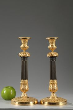 Early 19th century French Restauration gilt and patinated bronze pair of candlesticks, the fluted stem very finely chiseled with a frieze of palmette, crown of fruits and grapes, resting on.