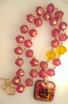 Necklace - Strawberry Sangria:  Czech glass and  Enamel by SpurwinkRiverArts on Etsy