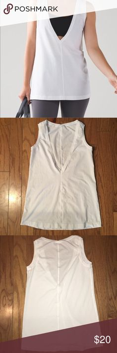 Lululemon Deep V Tank White 4 Not sure the actual name of this tank, but I got it a year ago and never wore it. It's in pristine condition!! Light Soft Cotton material, with a gorgeous Super deep V neck to show off your cutest sports bra or tank underneath. Perfect for working out or casual wear. lululemon athletica Tops Tank Tops