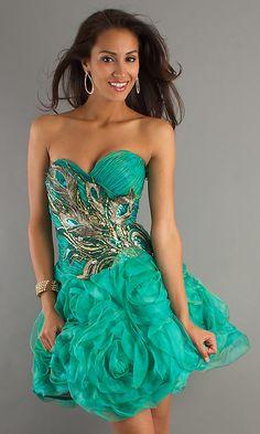 Short Green Strapless Sweetheart Dress