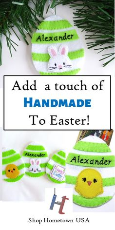 Easter egg gift card holder perfect for a candy free easter handmade felt easter egg gift card holder and ornament candy alternative for kids easter basket personalized custom felt ornament made in the usa negle Images