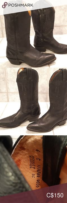 Cowboy boots by Boulet Canada- Women size 6 Great condition real cowboy boots Beautiful boots Black Leather Super sexy Size 6 Pet free smoke free home Boulet Canada Shoes Ankle Boots & Booties Black Sock Boots, Navy Ankle Boots, Platform Ankle Boots, Black Leather Boots, Cowboy Western, Western Boots, Cowboy Boots, Suede Booties, Bootie Boots