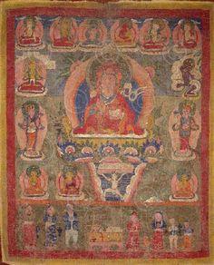 Paubha du Bouddha Amitabha.  Newar.  Vallée de Katmandu, Népal.  47x58 cms.  début du 20ème siècle