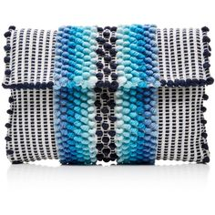 Antonello Il Suni Chelu Clutch ($345) ❤ liked on Polyvore featuring bags, handbags, clutches, blue, blue clutches, cotton purse, cotton handbags, antonello handbags and blue handbags