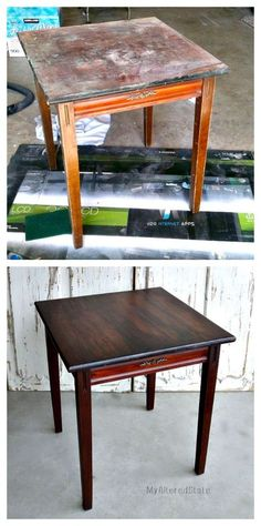 New stain over old stain.  Refinished Furniture | Small Vintage Table | Before and After: