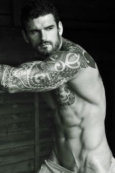 Image detail for - Reardon-Gilles-Crofta-male-model-beard-muscular-tattoo-tease-underwear ... Check out the website to see more