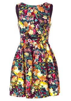 Multicolor Flowers Backless Round Neck Sleeveless Cotton Dress