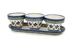 Polish Pottery Mosaic Flower Pots with Tray ** Special offer just for you. : Bakeware