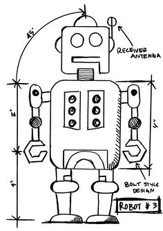 Tim Holtz Rubber Stamp 2015 ROBOT 3 SKETCH Stampers Anonymous P42634