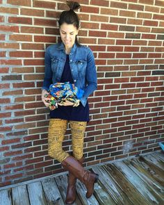 LuLaRoe Mustard leggings, navy tunic, denim jacket and boots. Cute