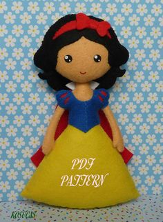PDF sewing pattern to make a felt doll inspired in Snow by Kosucas