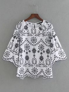 Shein Bell Sleeve Wave Hem Embroidery Top