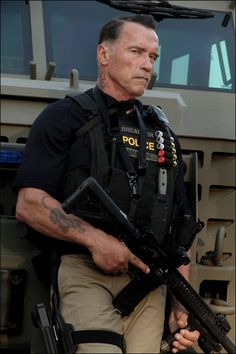Bad ass looking Arnold from the movie now called Sabotage. David Ayer Film March 2014 release.