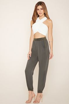 Life in Progress Zippered Joggers | Forever 21 - 2000080147