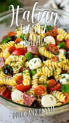 This Italian pasta salad is loaded with meat, cheese and vegetables, all tossed together with noodles in a homemade Italian dressing.