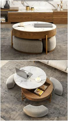 Coffee table with three integrated ottomans. This clever multi-tasking table features a lift-top, plenty of storage and comes with three ottomans that can be placed under the table when they�re not in use.