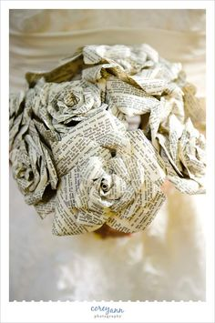 Wedding bouquet made up of pages from books of Shakespeare's love sonnets