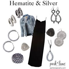Hematite & Silver  Park Lane Jewelry featured: Hoop Earrings in silver & hematite, Zara Earrings, Dynamite Ring in clear and jet, Gorgeous Bracelet in hematite, Zara Necklace, Tier Drop Earrings, and Dolce Vita Earrings in Silver.