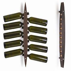 Legnoart - Botellero de pared, color negro y marró