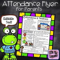 Attendance Flyer for Parents with Editable Text Knowledge is power. Be proactive by equipping parents with information regarding attendance and timeliness. This flyer can be printed on its own or edited. The information provided is: Elementary Bulletin Boards, Elementary School Counseling, School Social Work, School Counselor, Elementary Schools, School Office, Counseling Office, Group Counseling, Attendance Incentives