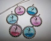 Gymnastics Themed Bottle Cap Necklaces Girls Birthday Party Favors