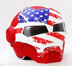 Iron man custom motorcycle helmet with USA Flag graphics