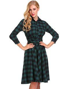 1d792ace62dd Retro V-neck Waist A Line Plaid Midi Dress