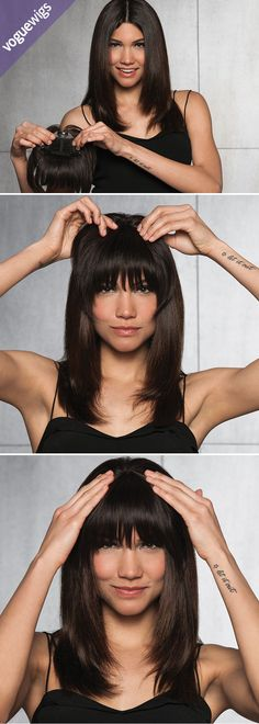 High fashion is front and center in the Clip-in Human Hair Fringe by Hairdo. Hairdo's popular clip-in bangs are now available in high quality human hair so you can achieve any look you want. The monofilament crown connects the fringe and longer layers to sweep back to blend right into your hair. Attaches with 3 pressure-sensitive clips. Change your look in a flash with this lash-skimming fringe!