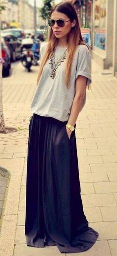 satin maxi skirt. tee. silver boho necklace.