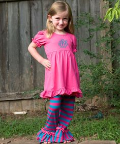 Love this Hot Pink & Blue Monogram Dress & Pants - Infant, Toddler & Girls by Princess Linens on #zulily! #zulilyfinds