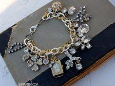 vintage rhinestone charm bracelet