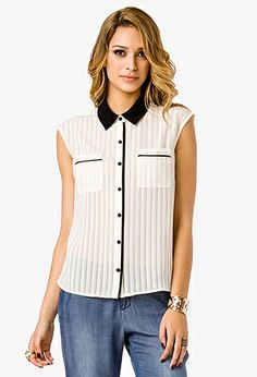 Striped Open Back Shirt | FOREVER21 - 2000044354