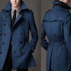 Мужское пальто синее с поясом Burberry