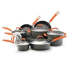 Rachael Ray Hard Anodized II Nonstick Dishwasher Safe 14-Piece Cookware Set, Orange at http://suliaszone.com/rachael-ray-hard-anodized-nonstick-10-piece-cookware-set-orange/