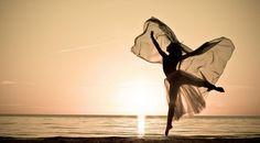 Woman dancing on the beach at sunset— #MindBodySpirit. Brought to you by SunGoddess Magazine: Igniting the Powerful Goddess WIthin http://sungoddessmagazine.com