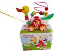 Nouveau gros bande dessinée de canard de traction bébé en bois Mini autour perles fil jeu de labyrinthe éducatif Colorful jouets pour enfants livraison gratuite