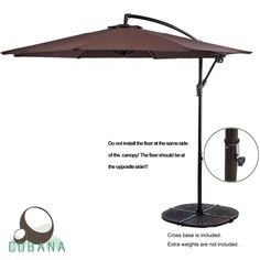 COBANA Cantilever Freestanding Patio Umbrella Hanging Outdoor Umbrella with Crank and Base, Polyester, Coffee Patio Umbrella Lights, Patio Umbrella Stand, Offset Patio Umbrella, Outdoor Patio Umbrellas, Cantilever Umbrella, Outdoor Umbrella, Outdoor Decor, Double Rocking Chair, Hanging Chair With Stand