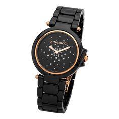 NINA RICCI WATCHES | nina ricci watch nrd068008 nina ricci rose gold black ceramic case ...
