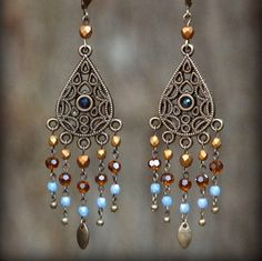 Elegant blue and brown boho style chandelier earrings! Chandelier Earrings, Beaded Earrings, Beaded Jewelry, Diy Jewellery, Jewlery, Jewelry Crafts, Jewelry Ideas, Tribal Jewelry, Fashion Earrings