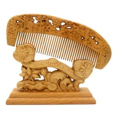 YOY Natural Wood Hair Comb - Handmade Antistatic No Snag Brush for Men's Mustache Beard Care Anti Dandruff Women Girls Head Hair Accessory, Magpie >>> You can get additional details at the image link.