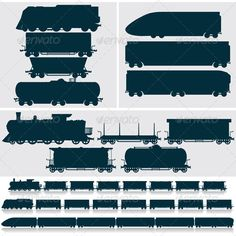 Silhouette Modern, Obsolete, Vintage - Train, Cars #GraphicRiver Vector Silhouettes. Modern,