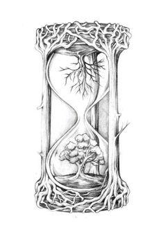 Tattoo Studio, Life Tree Tattoo, Tree Tattoo Side, Life Death Tattoo, Tree Roots Tattoo, Hourglass Drawing, Hourglass Tattoo, Broken Clock Tattoo, Tattoo Clock