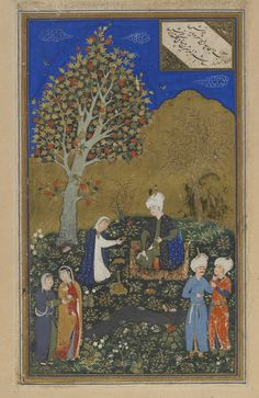 Folio from a Divan (collected poems) by Hafiz (d. 1390); verso: lovers in a garden; recto: text, poem of annihilation of worldly possessions 1523  Muhammad Qutbshah Safavid period  Color, gold and silver (oxidized) on paper H: 29.9 W: 18.8 cm Herat, Afghanistan
