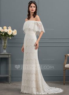 [NZ$244.00] Trumpet/Mermaid Off-the-Shoulder Sweep Train Lace Wedding Dress With Bow(s)