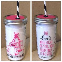 Personalized Mason Jar Tumbler // Fighter // Cancer by HouseOfJars, $20.50