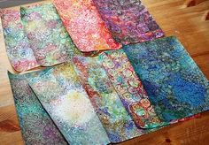 From Peony and Parakeet. Good ideas for making your own patterned papers. Also beautiful paper flowers from these.