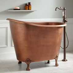 49 Abbey Hammered Copper Slipper Clawfoot Soaking Tub - Antique Copper - - This hand-hammered, Antique Copper clawfoot tub fits comfortably in small spaces and features a wide and deep interior. Clawfoot Tub Bathroom, Diy Bathroom, Bathroom Trends, Bath Tub, Bathroom Ideas, Bathroom Organization, Bathroom Interior, Bathroom Mirrors, Bathroom Cabinets